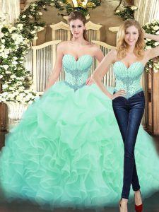 High Class Sweetheart Sleeveless Lace Up Quinceanera Gowns Apple Green Organza