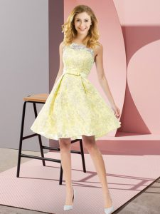 Exquisite Sleeveless Knee Length Bowknot Zipper Court Dresses for Sweet 16 with Yellow
