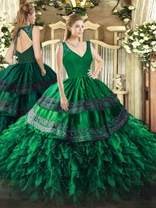 Dark Green Organza Backless V-neck Sleeveless Floor Length Quince Ball Gowns Beading and Lace and Ruffles