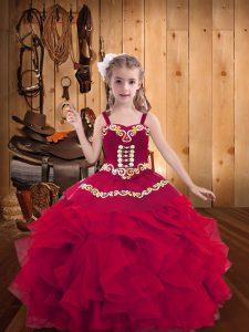 Pretty Red Straps Lace Up Embroidery and Ruffles Pageant Dress for Girls Sleeveless