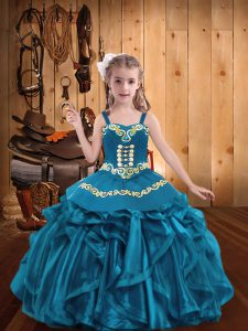 Teal Ball Gowns Straps Sleeveless Organza Floor Length Lace Up Embroidery and Ruffles Pageant Gowns