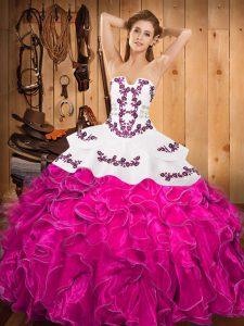Modern Floor Length Ball Gowns Sleeveless Fuchsia Sweet 16 Quinceanera Dress Lace Up
