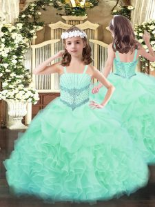 Sleeveless Organza Floor Length Lace Up Kids Pageant Dress in Apple Green with Beading and Ruffles and Pick Ups