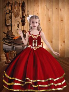 Classical Red Ball Gowns Beading and Embroidery and Ruffled Layers Little Girls Pageant Gowns Lace Up Organza Sleeveless Floor Length