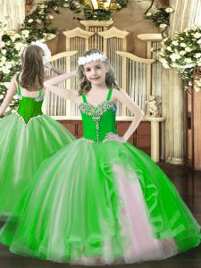 Custom Fit Green Tulle Lace Up Straps Sleeveless Floor Length Little Girls Pageant Dress Beading