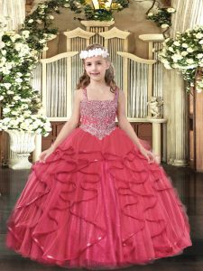 Custom Fit Coral Red Lace Up Little Girl Pageant Dress Beading and Ruffles Sleeveless Floor Length
