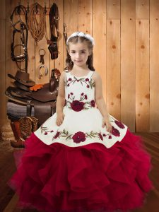 Amazing Sleeveless Embroidery and Ruffles Lace Up Glitz Pageant Dress