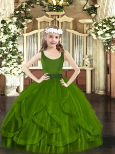 Fashionable Olive Green Scoop Neckline Beading and Ruffles Glitz Pageant Dress Sleeveless Zipper