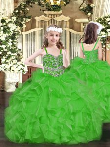 Green Sleeveless Floor Length Beading and Ruffles Lace Up Evening Gowns