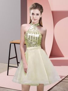 Chiffon Sleeveless Mini Length Dama Dress for Quinceanera and Sequins