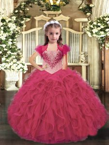 Admirable Hot Pink Straps Neckline Beading and Ruffles Little Girls Pageant Dress Wholesale Sleeveless Lace Up