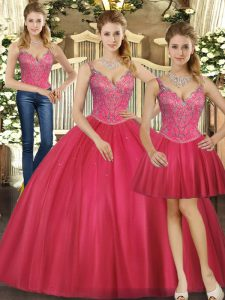Edgy Hot Pink Sleeveless Tulle Lace Up Sweet 16 Dresses for Military Ball and Sweet 16 and Quinceanera