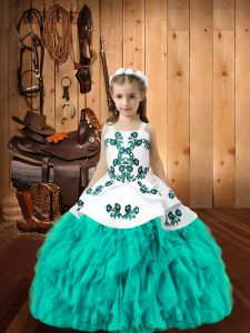 Custom Designed Aqua Blue Pageant Dress for Girls Sweet 16 and Quinceanera with Embroidery and Ruffles Straps Sleeveless Lace Up