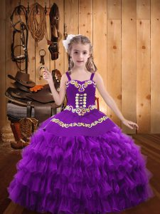 Purple Ball Gowns Straps Sleeveless Organza Floor Length Lace Up Beading and Embroidery and Ruffled Layers Evening Gowns
