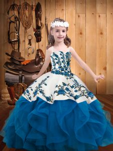 Unique Blue Ball Gowns Embroidery and Ruffles Kids Pageant Dress Lace Up Organza Sleeveless Floor Length