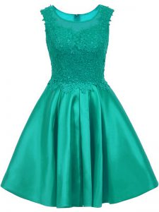 Exquisite Turquoise Sleeveless Satin Zipper Vestidos de Damas for Prom and Party