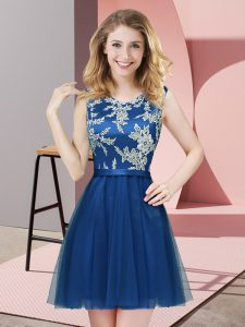 Chic Mini Length Side Zipper Dama Dress Blue for Prom and Party and Wedding Party with Lace