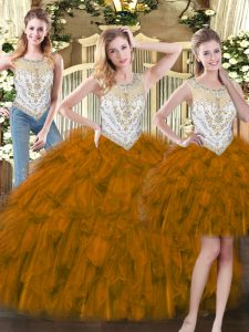 Organza Scoop Sleeveless Zipper Beading and Ruffles Quince Ball Gowns in Brown