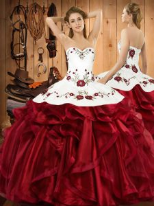 Free and Easy Wine Red Ball Gowns Sweetheart Sleeveless Organza Floor Length Lace Up Embroidery and Ruffles Quinceanera Gowns