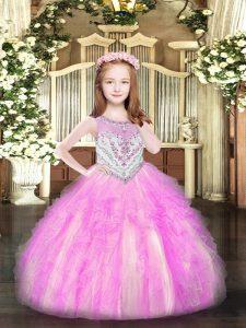 High Class Scoop Sleeveless Zipper Pageant Gowns Lilac Organza