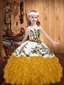 Low Price Gold Organza Lace Up Kids Formal Wear Sleeveless Floor Length Embroidery and Ruffles