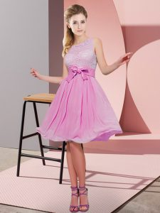Best Selling Rose Pink Side Zipper Quinceanera Court Dresses Lace and Bowknot Sleeveless Knee Length