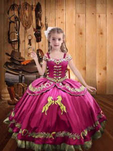 Off The Shoulder Sleeveless Little Girl Pageant Dress Floor Length Beading and Embroidery Hot Pink Satin