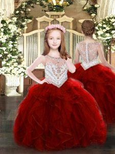 Wine Red Sleeveless Floor Length Beading and Ruffles Zipper Kids Formal Wear