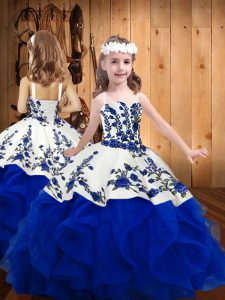 High End Organza Straps Sleeveless Lace Up Embroidery and Ruffles Glitz Pageant Dress in Royal Blue