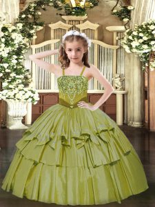 Straps Sleeveless Organza Glitz Pageant Dress Beading and Ruffled Layers Lace Up