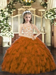 Customized Sleeveless Floor Length Beading and Ruffles Lace Up Kids Formal Wear with Brown