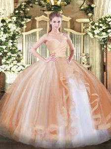 Ball Gowns Quinceanera Dresses Champagne Sweetheart Tulle Sleeveless Floor Length Lace Up