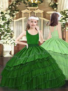 Scoop Sleeveless Zipper Kids Formal Wear Dark Green Organza