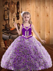 Best Multi-color Ball Gowns Fabric With Rolling Flowers Straps Sleeveless Embroidery and Ruffles Floor Length Lace Up Custom Made Pageant Dress