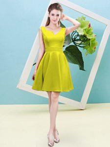 A-line Damas Dress Yellow Asymmetric Satin Sleeveless Mini Length Zipper