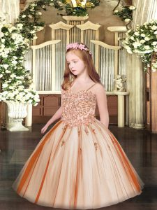 Rust Red Sleeveless Tulle Lace Up Little Girls Pageant Gowns for Party and Quinceanera