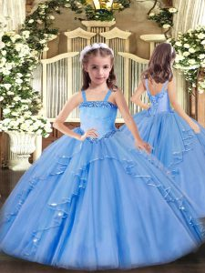 Popular Floor Length Baby Blue Girls Pageant Dresses Organza Sleeveless Appliques and Ruffles