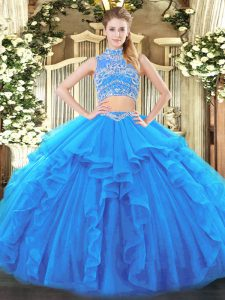 Floor Length Baby Blue Quinceanera Gowns High-neck Sleeveless Backless