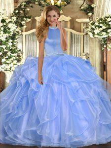 Floor Length Blue Quinceanera Dress Halter Top Sleeveless Backless
