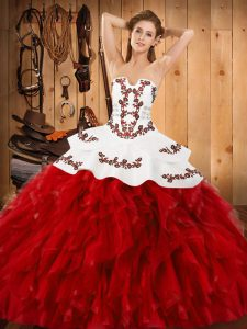 Flare Sleeveless Embroidery and Ruffles Lace Up Quince Ball Gowns