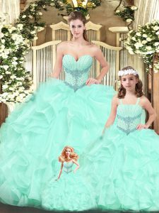 High Quality Aqua Blue Sweetheart Neckline Beading and Ruffles Quinceanera Gown Sleeveless Lace Up