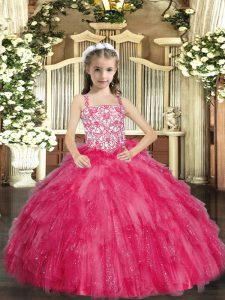 Trendy Hot Pink Ball Gowns Organza Straps Sleeveless Beading and Ruffles Floor Length Lace Up Little Girls Pageant Gowns