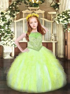 Simple Ball Gowns Pageant Gowns For Girls Yellow Green Scoop Organza Sleeveless Floor Length Zipper