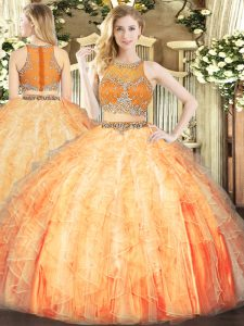 Exceptional Floor Length Orange Red Quinceanera Gowns Organza Sleeveless Beading and Ruffles