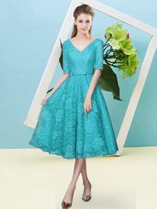 Teal Lace Lace Up Damas Dress Half Sleeves Tea Length Bowknot