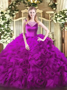 Fuchsia Ball Gowns Scoop Sleeveless Fabric With Rolling Flowers Floor Length Side Zipper Beading Quince Ball Gowns