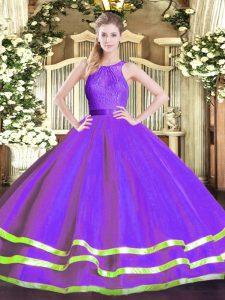 Discount Floor Length Eggplant Purple Ball Gown Prom Dress Scoop Sleeveless Zipper