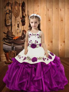 Floor Length Fuchsia Pageant Dress Toddler Straps Sleeveless Lace Up