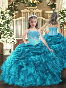 Teal Ball Gowns Straps Sleeveless Organza Floor Length Lace Up Embroidery and Ruffles Little Girls Pageant Dress
