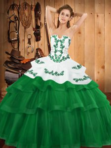 Top Selling Sleeveless Sweep Train Embroidery and Ruffled Layers Lace Up Sweet 16 Quinceanera Dress
